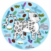 Cute Snow Leopard Kitten With Spruce Branches, Crystals, Stones, Cones, Snow Covered Bush On Blue Ba poster