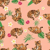 Cute Tiger Kittens Seamless Pattern, Cartoon Drawn Funny Animals, Wild Cat Kitten, With Abstract Flo poster