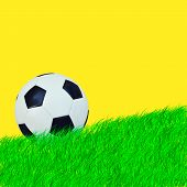 Ball On Green Grass And Yellow Background