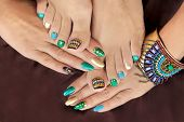 Multicolored Pedicure And Manicure With Rhinestones On Oval Long Female Nails.nail Design With Turqu poster