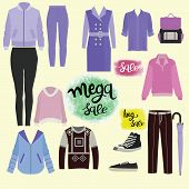 Vector Hand Drawn Vector Collection Of Clothes, Accessories And Lettering Set Of Special Offer Signs poster