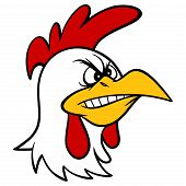 Angry Rooster - A Cartoon Illustration Of An Angry Rooster Mascot. poster