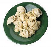 Dumplings On A Green Plate Isolated On White Background .boiled Dumplings.meat Dumplings Top Side Vi poster