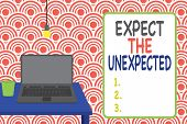 Conceptual Hand Writing Showing Expect The Unexpected. Business Photo Showcasing Anything Can Happen poster