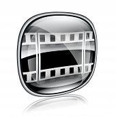 Film Icon Black Glass, Isolated On White Background.