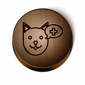 Brown Line Veterinary Clinic Symbol Icon Isolated On White Background. Cross With Dog Veterinary Car poster