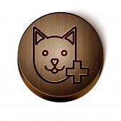 Brown Line Veterinary Clinic Symbol Icon Isolated On White Background. Cross With Cat Veterinary Car poster