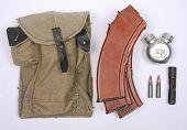 stock photo of ak47  - Russian pouch and ammunition magazines for the AK47 and AKM rifle - JPG