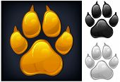 stock photo of paw  - Yellow animal paw print isolated on black vector illustration - JPG
