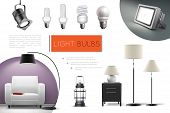 Realistic Lamps And Bulbs Composition With Spotlights Floor Lamps Lantern Led And Fluorescent Lightb poster