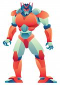 Giant Robot Standing Tall On White Background. poster