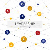 Leadership Trendy Web Template With Simple Icons. Contains Such Elements As Responsibility, Motivati poster