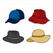 Hat Icon Isolated White Background, Headgear Design For Men And Women. Hat Vector Icon Modern And Tr poster