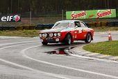 Leiria, Portugal - April 20: Adalberto Melim Drives A Alfa Romeo 2000 Gt During Day One Of Rally Ver