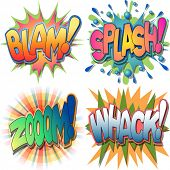 A Selection of Comic Book Exclamations and Action Words,Blam, Splash,Zoom, Whack