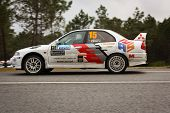 Marinha Grande, Portugal - April 14: Joaquim Gaspar Drives A Mitsubishi Lancer Evo During Rally Vidr