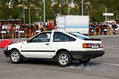 Leiria, Portugal - April 22: Carlos Morgado Drives A Toyota Corolla Ae86 During Leiria City Slalom 2