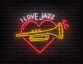 Jazz Music Neon Sign, Bright Signboard, Light Banner. I Love Jazz Music Logo Neon, Emblem. Vector Il poster