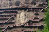 Maijishan Cave-temple Complex In Tianshui City, Gansu Province China. A Mountain With Religious Cave poster