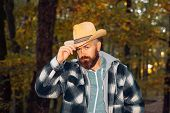 Handsome Charming Beard Man In Freezing Cold In The Autumn Forest, Wearing A Cawboy Hat. Traditions  poster