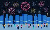 Crowd Watching Fireworks. Dark Night City With Firework Pyrotechnic Show, People Look In Sky And Cel poster