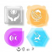 Animal icon set. Deer, fish, bird in hands, globe and shamoo.  Glass buttons. Vector illustration. E
