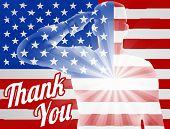 A Soldier Saluting With American Flag In The Background With Thank You, Design For Memorial Day Or V poster