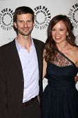 LOS ANGELES - APR 14:  Frederick Weller, Rachel Boston arrive at 'In Plain Sight' at The Paley Cente