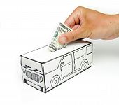 Safe design with car and five dollar bill placed