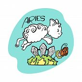 Aries Astrological Zodiac Sign With Cute Cat Character. Cat Zodiac Icon. Kitten Aries Sticker. Baby  poster