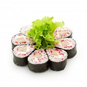 Maki Sushi - Roll made of Tobiko (flying fish caviar), Cream Cheese and Tamago (japanese omelet)