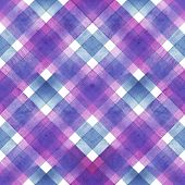 Watercolor Diagonal Stripe Plaid Seamless Texture. Colorful Blue And Purple Stripes Background. Wate poster