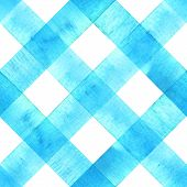 Watercolor Diagonal Stripe Plaid Seamless Texture. Teal Blue Stripes On White Background. Watercolou poster
