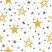 Sketch Star Seamless Pattern. Starry Sky With Golden And Black Stars. Christmas And Winter Holidays  poster