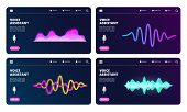 Audio Assistant Landing Page. Vector Voice Personal Assistant Web Banners With Sound Waves. Illustra poster