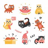 Cartoon Cats. Funny Kittens Of Different Colors, Funny Lazy Cat Characters. Lovely Playful Pets, Hom poster