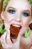 Retro Woman In Green And Chocolate Cupcake