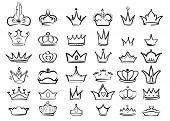 Crown Doodles. Imperial King Diadem Regal Symbols Majestic Sketch Vector Set. Illustration Drawing C poster
