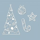 Lasercut Christmas Tree Ball Candy Toy Star Christmas Theme Set Design Element Of A Lasercut Lace Ch poster