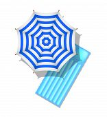 Blue and white striped beach umbrella and air mattress
