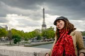 Traveler Girl In Vacation In Paris. Young Traveler Girl In Vacation. Girl Traveling To Paris In Vaca poster