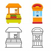 Vector Illustration Of Amusement And Store Symbol. Set Of Amusement And Urban Stock Symbol For Web. poster