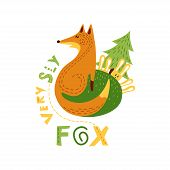 Print With Cutecsly Fox And Cowardly Hares In Flat Design. Vector Illustration In Scandinavian Style poster