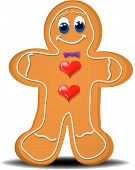 picture of gingerbread man  - A gingerbread man he is cute with heart buttons a bow tie and a smile on his face - JPG