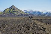 Icelandic Lava Desert Landscape With Group Of Bikers On Laugavegur Hiking Trail With View On Tindfja poster