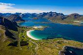 Panorama Beach Lofoten islands is an archipelago in the county of Nordland, Norway. Is known for a d poster