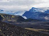 Icelandic Lava Desert Landscape With Tindfjallajokull Glacier Tongue And Green Hills. Fjallabak Natu poster