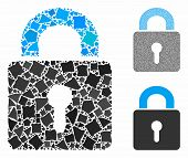 Lock Mosaic Of Trembly Elements In Various Sizes And Shades, Based On Lock Icon. Vector Uneven Eleme poster
