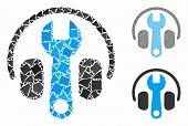 Headphones Tuning Wrench Mosaic Of Inequal Elements In Various Sizes And Color Tinges, Based On Head poster