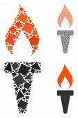 Fire Torch Mosaic Of Uneven Items In Variable Sizes And Color Hues, Based On Fire Torch Icon. Vector poster